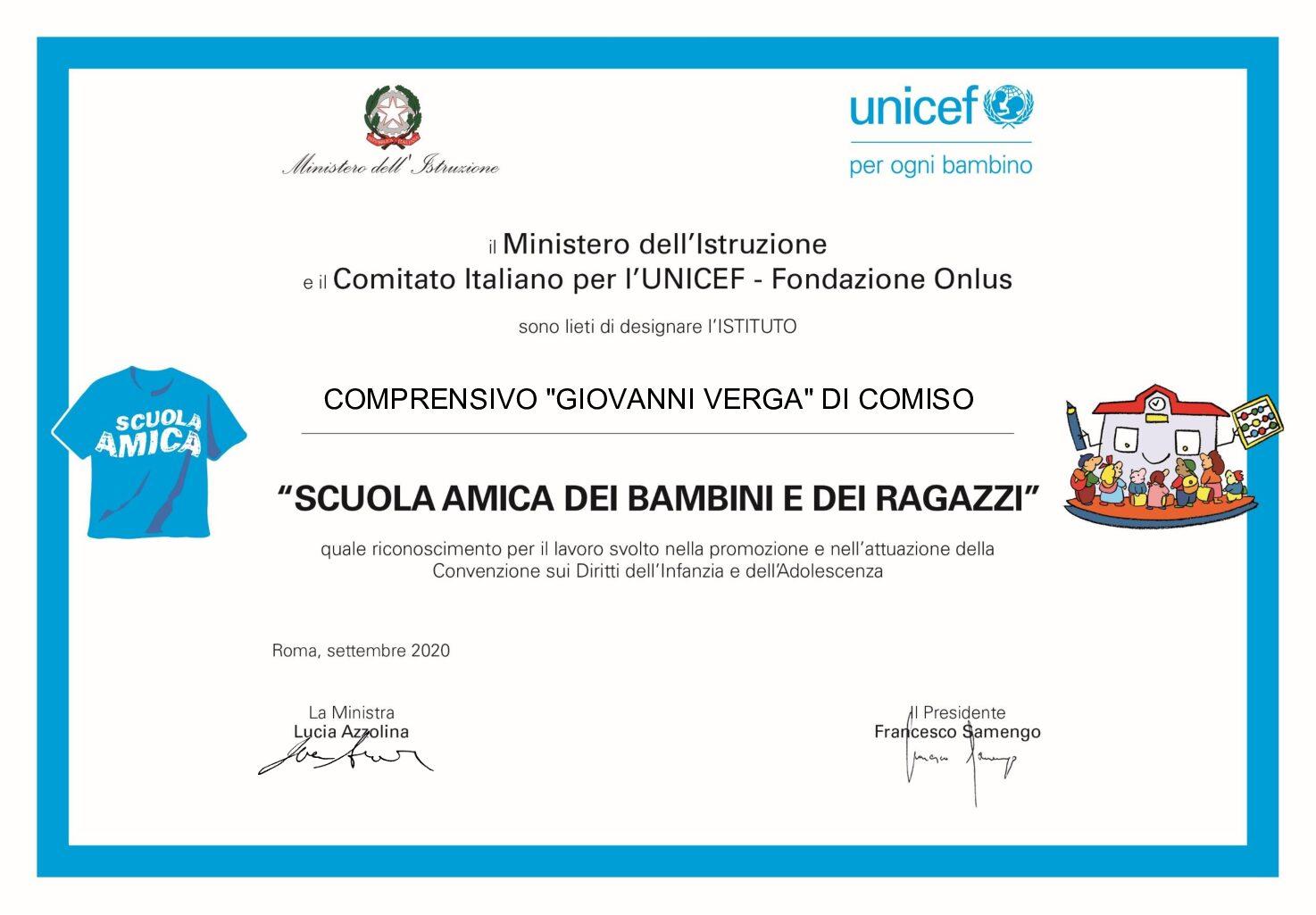 Scuola amica dell'Unicef